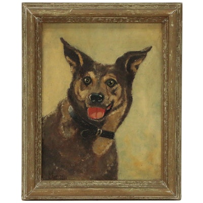 Portrait Oil Painting of Shepherd Mix, 1933