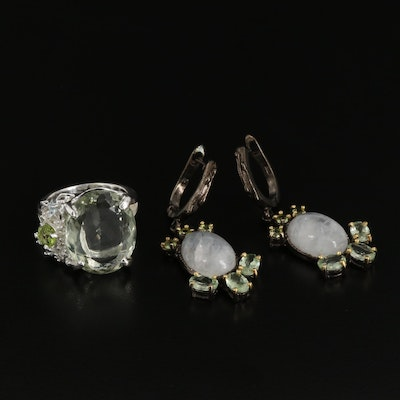 Sterling Silver Moonstone, Prasiolite and Peridot Ring and Earrings
