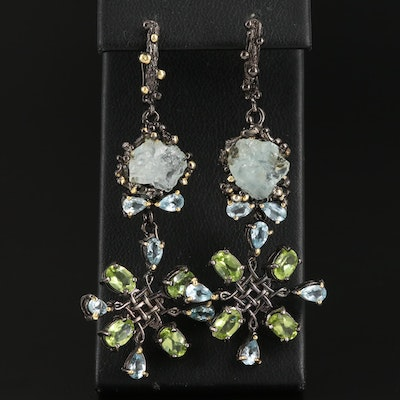 Sterling Silver Aquamarine, Peridot and Topaz Dangle Earrings
