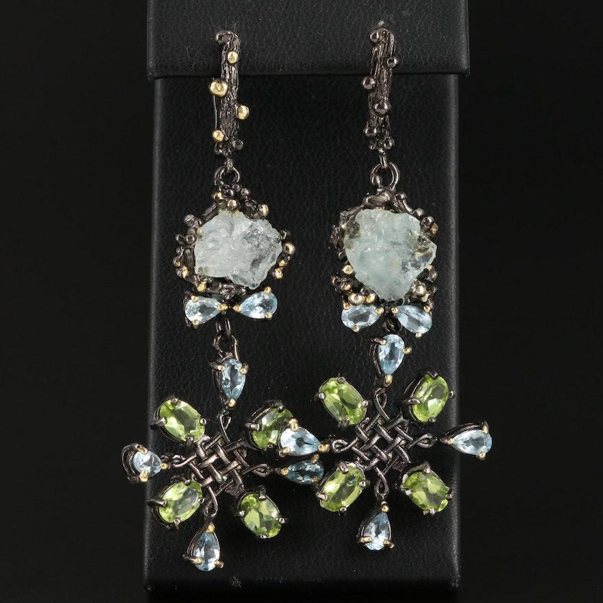 Sterling Silver Aquamarine, Peridot and Topaz Dangle Earrings