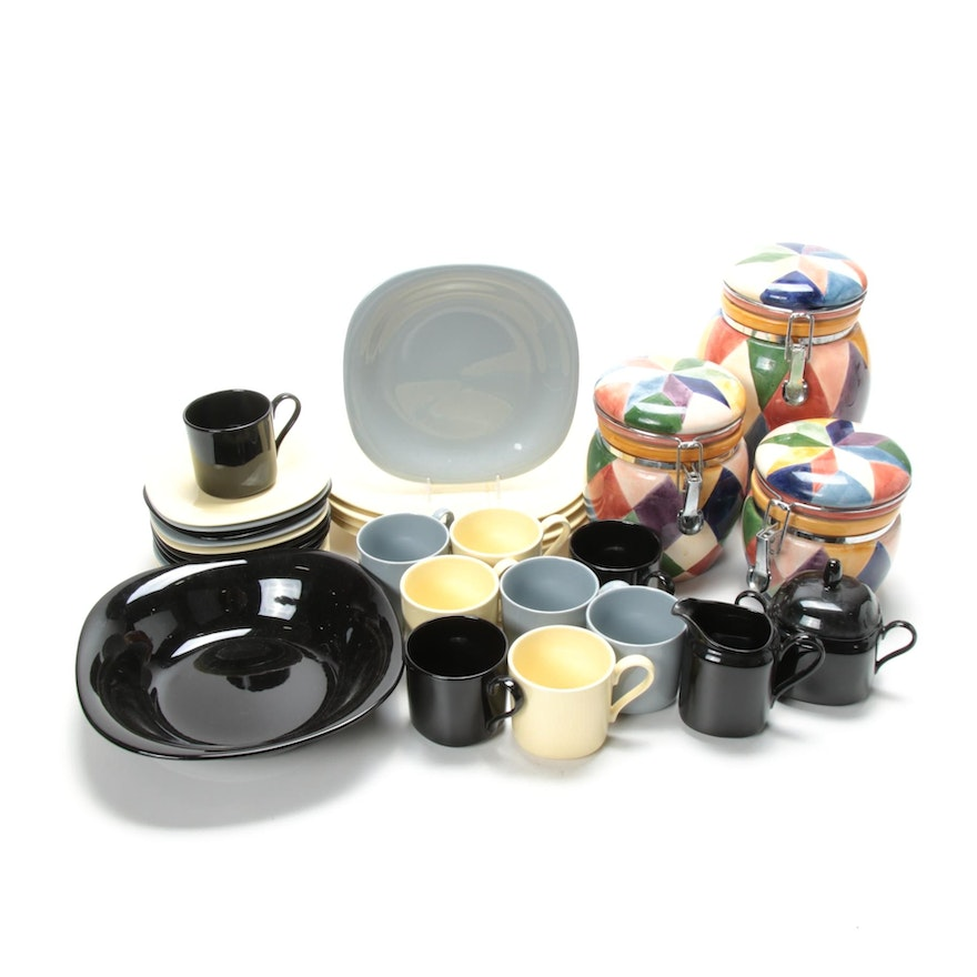 """Mikasa """"Color Classics"""" Dinnerware and Hand-Painted """"Carnival"""" Canisters"""