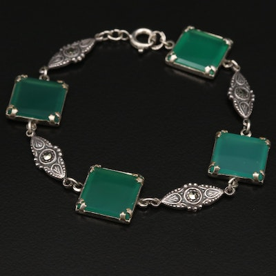 Art Deco Chalcedony and Marcasite Bracelet Including Sterling Silver