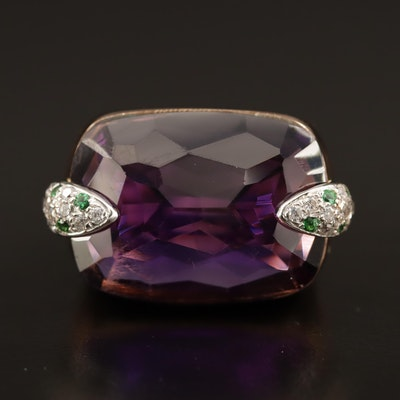 18K Amethyst and Cubic Zirconia Statement Ring