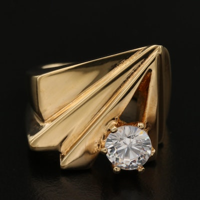 Folded Cubic Zirconia Ring