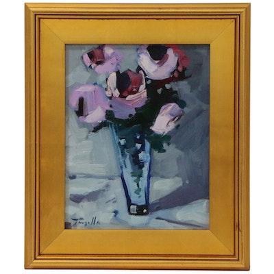 "Jose Trujillo Oil Painting ""Roses in Vase"", 2015"