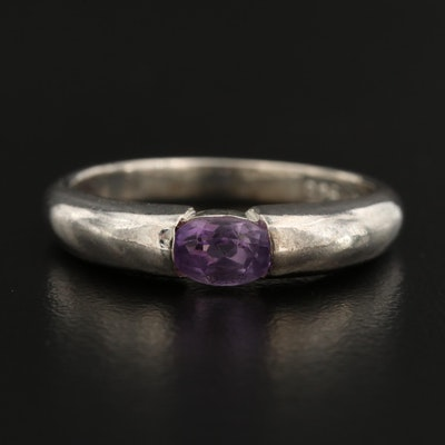 Sterling Silver Amethyst East West Ring