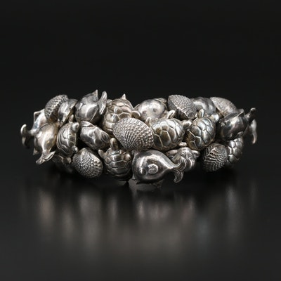 Sterling Silver Ocean Themed Bracelet