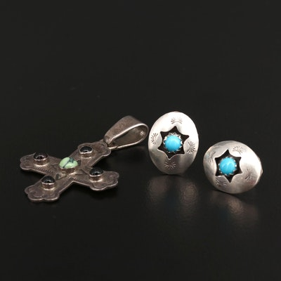 Sterling Silver Trefoil Cross Pendant and Earrings Featuring Raymond Coriz Kewa