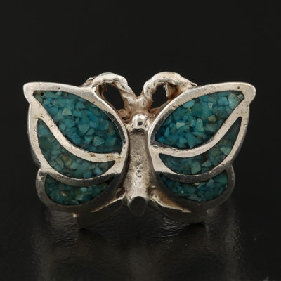 Sterling Silver Stone Chip Butterfly Ring