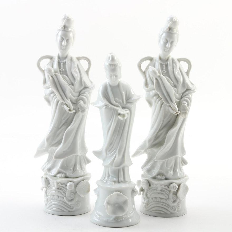 Blanc de Chine Quan Yin Figurines Including Toyo, Late 20th Century