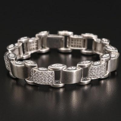 Sterling Silver Cubic Zirconia Panel Bracelet