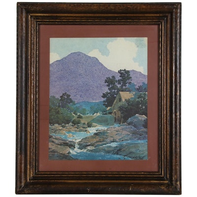 "Offset Lithograph after Maxfield Parrish ""Rocks and Rills"""