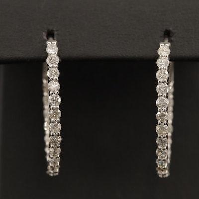 14K 2.76 CTW Diamond Inside-Out Hoop Earrings