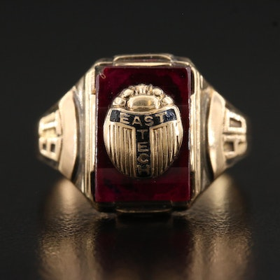 Vintage 10K 1940 East Tech Ruby and Enamel Ring