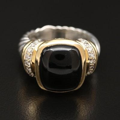 David Yurman Sterling Silver and 18K Black Onyx and Diamond Ring