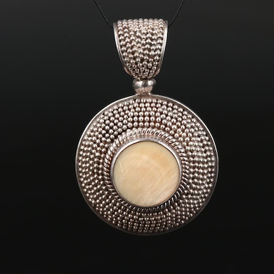 Sterling Silver Mother of Pearl Granulated Pendant