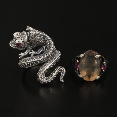 Sterling Silver Chameleon and Oval Rings with Citrine, Rhodolite Garnet and Ruby