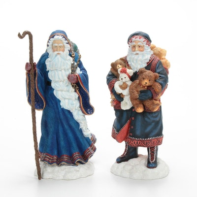 "Pipka Limited Edition ""Father Christmas"" and ""Teddy Bear Santa"" Figurines"