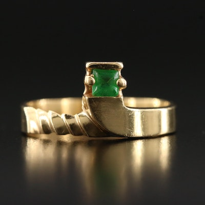18K Glass Solitaire Ring