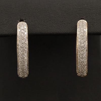 14K 1.66 CTW Diamond Oval Inside-Out Hoop Earrings