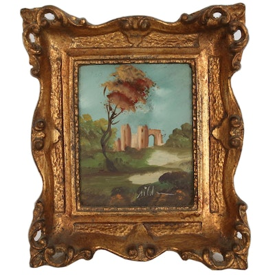 Miniature Impressionist Style Oil Painting of Castle in Landscape, 20th Century