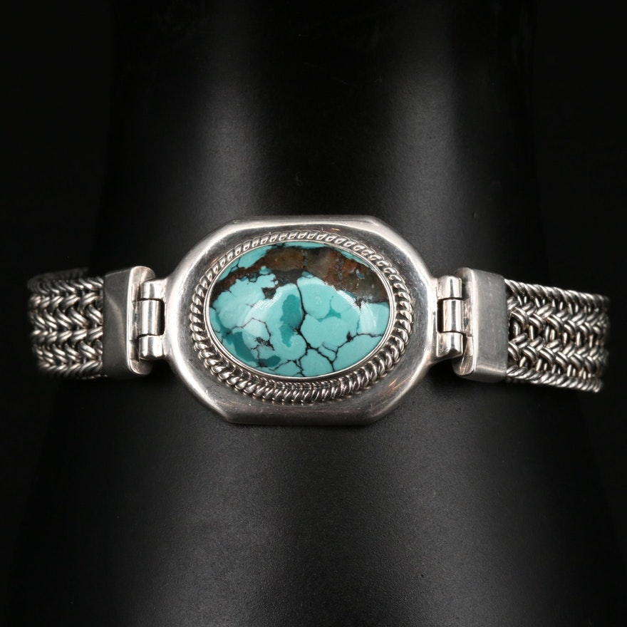 Sterling Silver Turquoise Woven Bracelet