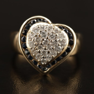 14K Sapphire and Diamond Heart Ring