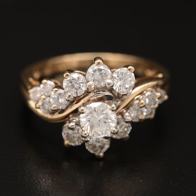 14K 1.69 CTW Diamond Twist Ring