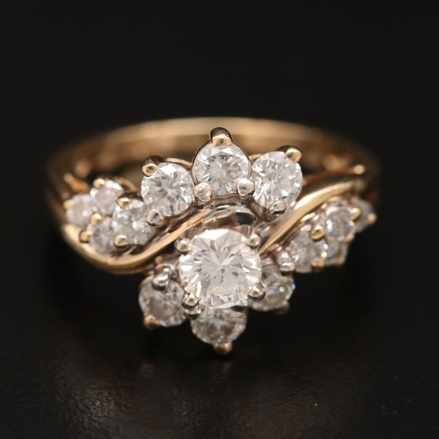 14K 1.69 CTW Diamond Twist Ring