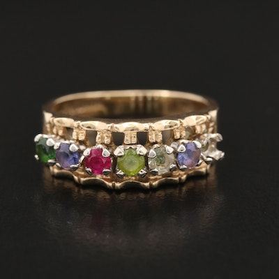10K Band with Peridot, Ruby, Sapphire and Spinel