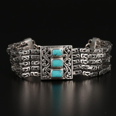 Sterling Silver Turquoise Mutli-Strand Bracelet