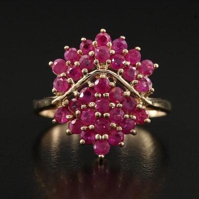 10K Ruby Shield Ring