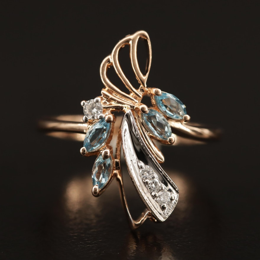 14K Topaz and Diamond Asymmetrical Ring