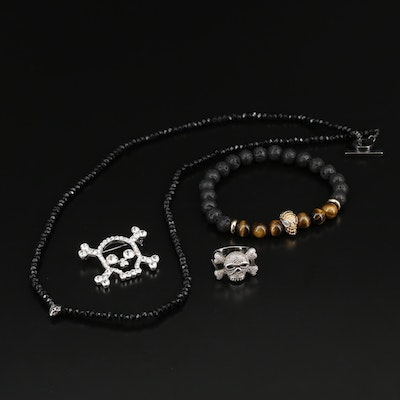 Assorted Jewelry Collection Including Marc Jacobs, Lava, Tiger's Eye and Diamond