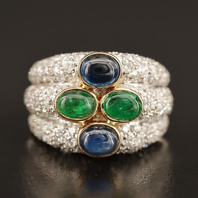 18K Emerald, Sapphire and 2.50 CTW Pavé Diamond Ring