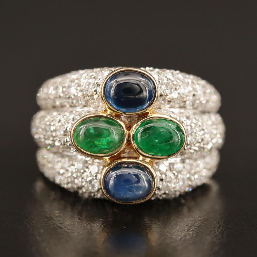 18K Emerald, Sapphire and 2.50 CTW Pavé Diamond Ring