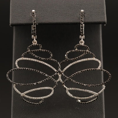 14K Diamond Dangle Earrings Featuring Black Diamonds