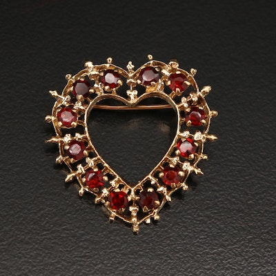 14K Garnet Heart Brooch