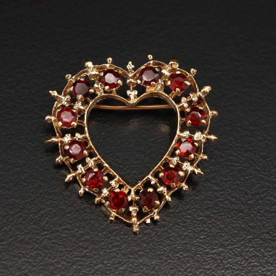 14K Garnet Heart Brooch