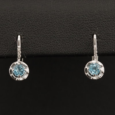 14K Blue Topaz and Diamond Drop Earrings