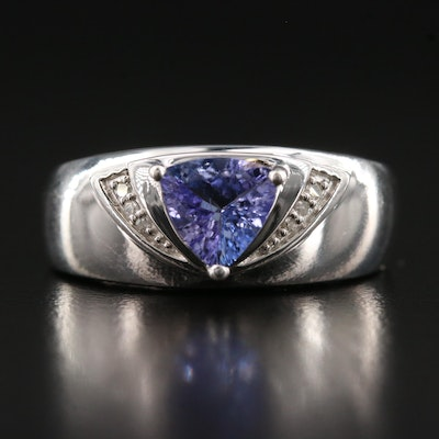 Sterling Tanzanite and Diamond Ring