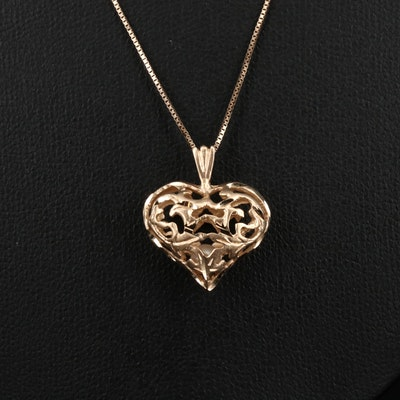 14K Pierced Heart with Encased Pearl Necklace