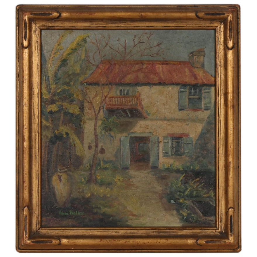 Anne Keller Impressionist Style Oil Painting of House Front, circa 1933