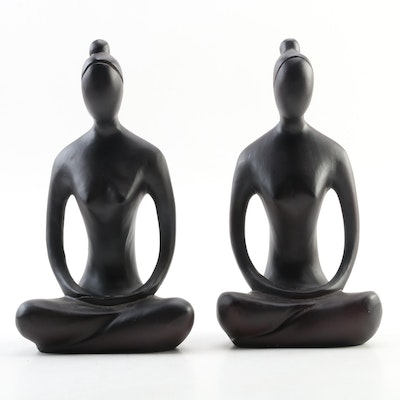 Pair of Carved Wooden Female Figurines, Late 20th Century