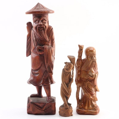 Asian Motif Hand Carved Wooden and Folk Figurines