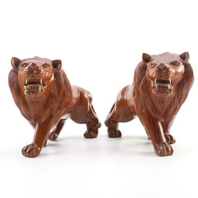 Pair of Handcrafted Wooden Lion Figurines