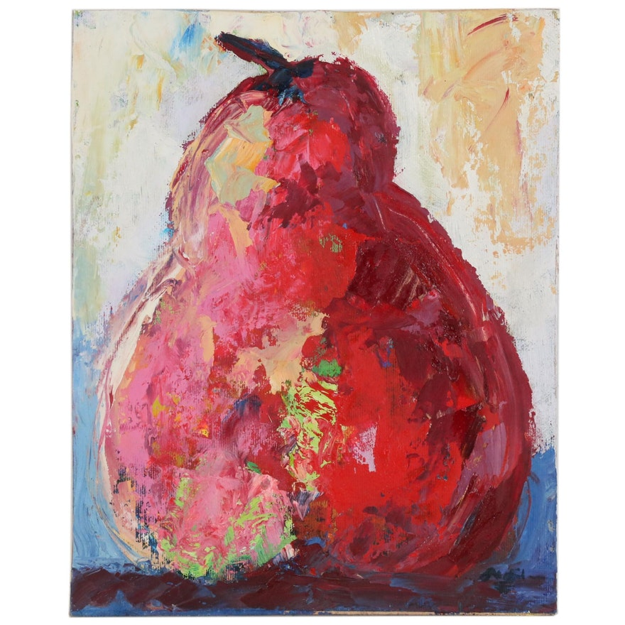 Claire McElveen Impressionistic Oil Painting of a Pear, 2016