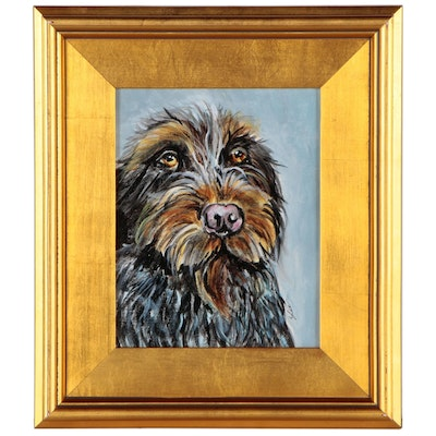 C.J. Lee Acrylic Painting of Wirehaired Pointing Griffon