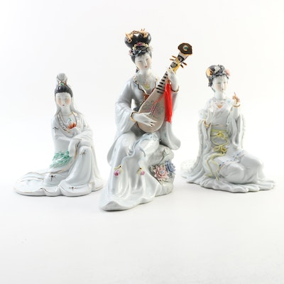 Chinese Hand-Painted Porcelain Performing Artist Figurines, Late 20th Century