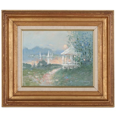 Lewis Gordon Impressionist Oil Painting of Coastal Garden Scene